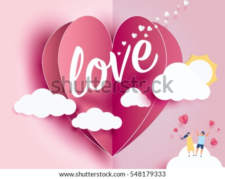 love Invitation card Valentine's day abstract background with text love and young joyful,clouds,paper cut pink heart. Vector illustration.
