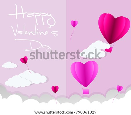 love Invitation card Valentine's day abstract background with text love and young joyful,clouds,paper cut pink heart. Vector illustration. #790061029