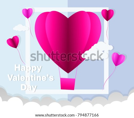 love Invitation card Valentine's day abstract background with text love and young joyful,clouds,paper cut pink heart. Vector illustration. #794877166