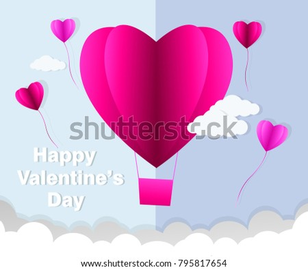 love Invitation card Valentine's day abstract background with text love and young joyful,clouds,paper cut pink heart. Vector illustration. #795817654