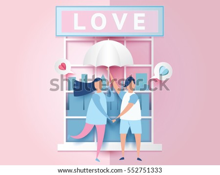 love Invitation card Valentine's day abstract window background with text love and young joyful couple holding umbrella,paper cut mini heart on message box. Vector illustration.
