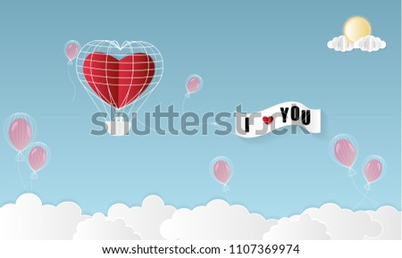 Love Invitation card Valentine's day background with Girl Boy Balloon Cloud Sun and Text i love you. Vector illustration.Paper art concept. #1107369974