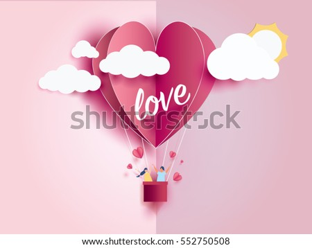 love Invitation card Valentine's day balloon heart on abstract background with text love and young joyful,clouds,sun,paper cut pink heart. Vector illustration.