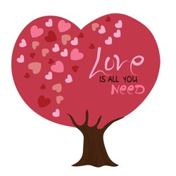Love is all you need valentineday tree vector illustration