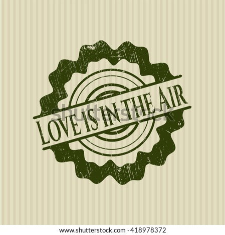 Love is in the Air rubber stamp with grunge texture
