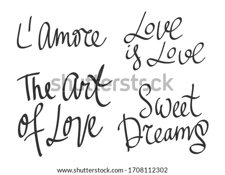 Love is love, Sweet dreams, The art of love. Stickers set for social media content. Vector hand drawn illustration with cartoon lettering. Bubble pop art comic style poster, t shirt print Stock fotó ©