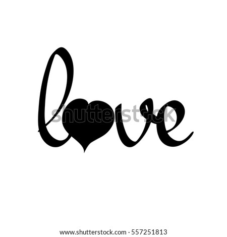 love  isolated calligraphy