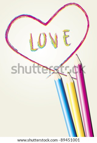 Love Letter And Heart Draw By Three Color Pencil On Paper ...