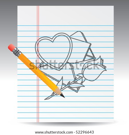 love letter and rose drawing with pencil - stock vector