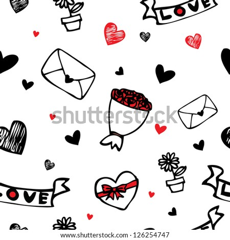 Love letter , hearts and flower cartoon drawing seamless pattern background for valentine day