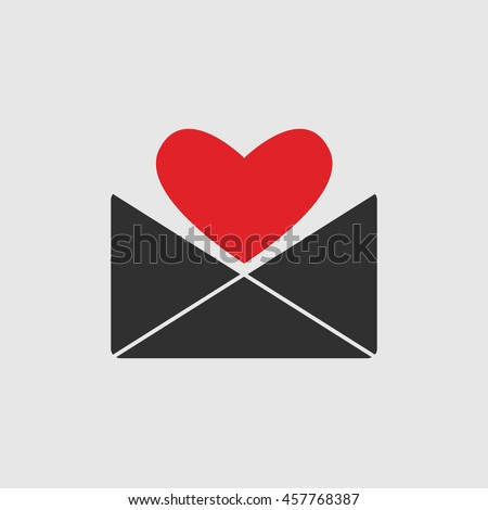 love letter icon with red heart