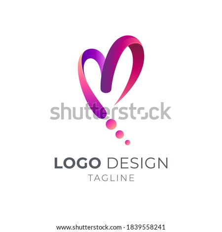 Love letter M logo. Heart and initial M with ribbon 3d shape in gradient red color Сток-фото ©