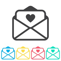 Love letter multi color icon set. Simple glyph, flat vector of wedding icons for ui and ux, website or mobile application