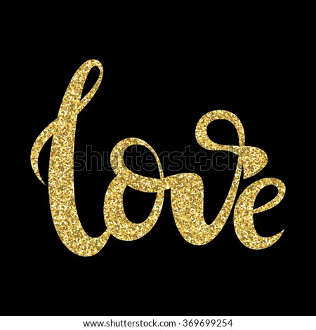 love lettering print with gold