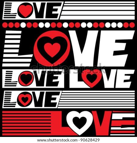 love lettering, vector design elements