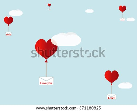 Love letters are flying among the clouds. Vector. #371180825