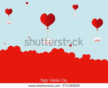 Love letters are flying among the clouds. Vector. #371180828