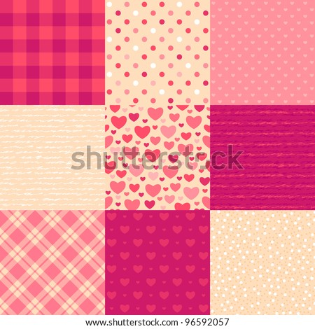 Love letters. Collection of 9 elegant seamless patterns on the theme of romance and love