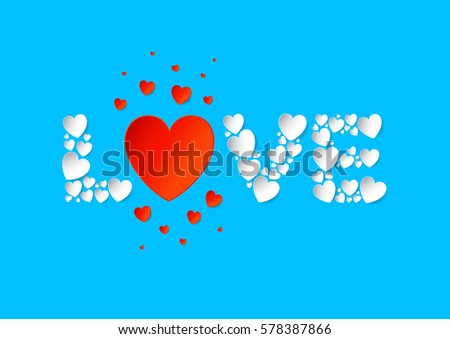 Love letters flat lay with white and red vector paper hearts on blue background