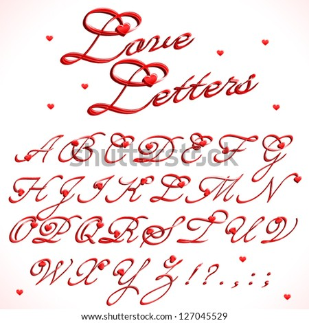 Love letters, part 1/3 of full calligraphic alphabet (Caps and small letters) and numbers