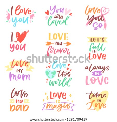 Love lettring vector lovely calligraphy lovable friendship sign to mom dad friend iloveyou on Valentines day beloved card illustration set of family love decor typography isolated on white background