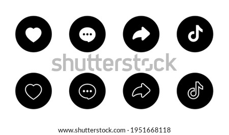 Love, Like, Comment, Share, and Logo. Icon Set of Social Media Inspired By Tiktok. Vector Illustration