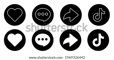 Love, Like, Comment, Share, and Logo. Set of Social Media Icons Inspired By Tiktok