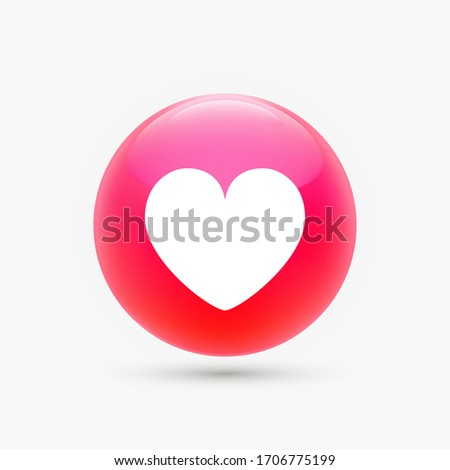 Love like symbol, a white heart in a glossy  red circle. Premium vector illustration.