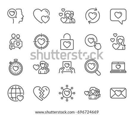 love line icons couple