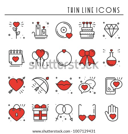 Love line icons set. Happy Valentine day signs and symbols. Love, couple, relationship, dating, wedding, holiday, romantic amour theme. Heart, lips, gift.