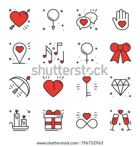 Love line icons set. Happy Valentine day signs and symbols. Love, couple, relationship, dating, wedding, holiday, romantic amour theme Heart gift
