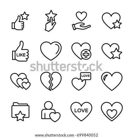 love line vector icons set