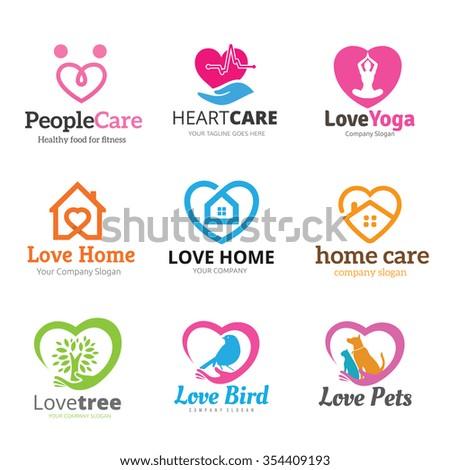 Love Logo collection,Heart logo concept,Vector logo template