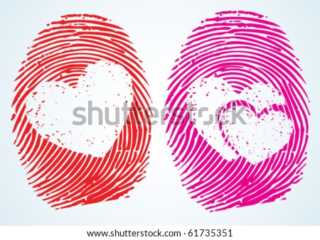 Love / Lovers â?? A concept showing the thumbprint with the heart Symbol on it. can be used in many ways.