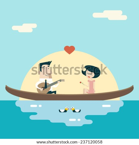 love male and female on gondola