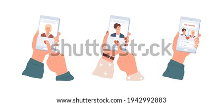 Love match between man and woman in dating app. Male and female hands holding mobile phones with application for couple building. Colored flat vector illustration isolated on white background