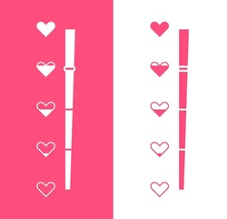 Love measuring indicator with hearts isolated on white background. Symbol of love and health. Design concept for love meter and Valentines day. Vector illustration.