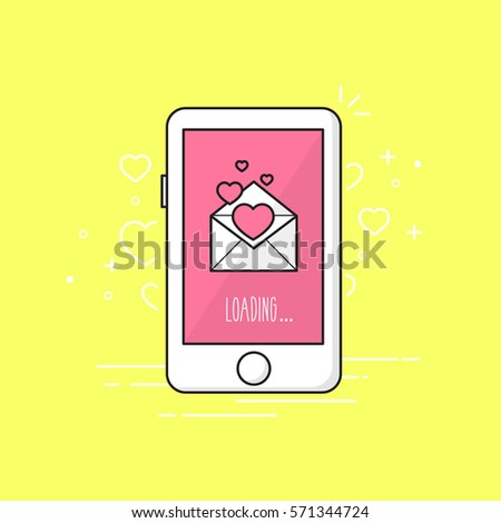 Love message phone.Valentine's day. Vector illustration.