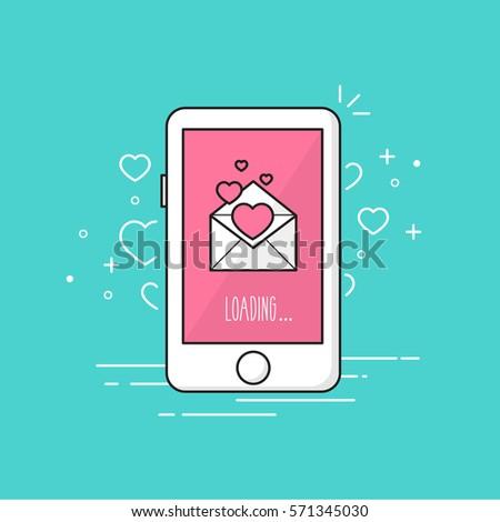 Love message phone.Valentine's day. Vector illustration.
