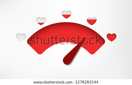 Love meter. Valentine's day card element. Love gauge concept with red hearts. Satisfaction indicator. 3d paper cut style. Realistic cute modern design. Simple flat style vector illustration.