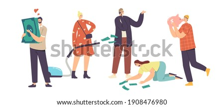 Love Money, Greed, Cupidity Concept. Greedy Male and Female Characters Excited to Gain Money, Hugging Piggy Bank and Dollar Bills, Businesswoman with Vacuum Cleaner. Cartoon People Vector Illustration Foto stock ©
