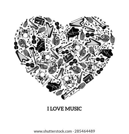 love music concept with black