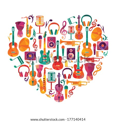 Love Music Heart Musical instruments on heart shape