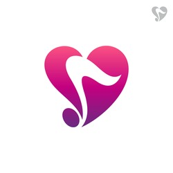 Love music logo, music note with heart shape, simple flat logo template