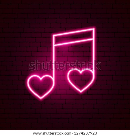 Love Music Neon Sign. Vector Illustration of Romance Promotion.