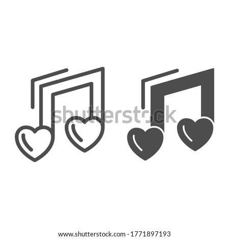 love music note line and solid