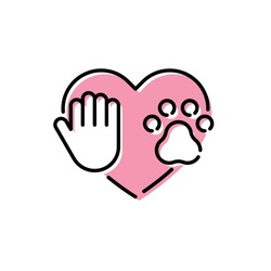 Love my pet logo design template. Vector icon banner with paw, hand and heart. Color linear pictogram poster showing animal protection, adoption, shelter, charity. Linear card illustration background