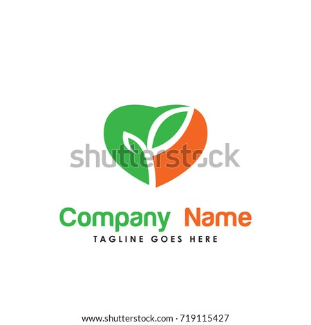 love nature logo vector. Contains such Icons as organic, health, heart, green