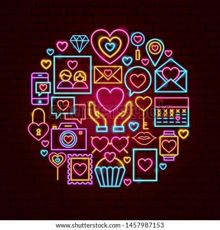 Love Neon Concept. Vector Illustration of Romance Promotion.