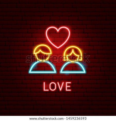 Love Neon Label. Vector Illustration of Romance Promotion.